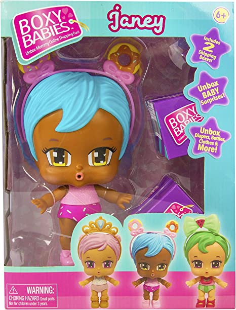 2 Unboxing Boxes Included with Surprise Clothes and Accessories Inside Blue Hair Baby Girl Janey Doll with Pink Donut Headband Accessory Boxy Babies Season 2 Collectible Fashion Toy