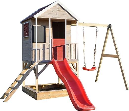 Wendi Toys M9 Summer Adventure House | Casa de Juegos Infantil de Madera en platafteorma con Columpios para Exteriores | Cabaña de la Aventura del Verano del tamaño: Amazon.es: Jardín