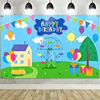 Happy Birthday Party Backdrop Banner, Extra Large Fabric Cartoon House Trees Street Sky Flags Photography Background…