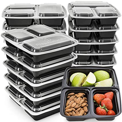Amazon Com Meal Prep Containers 3 Compartment Plastic Food