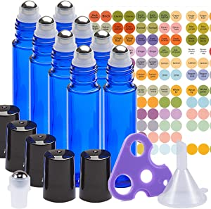 Essential Oil Roller Bottles Set with Stainless Steel Balls, 8 Pack 10ml Dark Blue Leakproof Glass Bottle with 8 Rollerballs for Perfume & Aromatherapy Oils - Roller Bottle Opener & 192 Labels