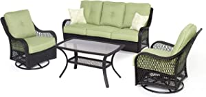 Hanover ORLEANS4PCSW Orleans 4-Piece Lounging Set, Includes Sofa, 2 Swivel-Gliders and 43 by 26-Inch Coffee Table Outdoor Furniture, 43 x 26, Avocado Green