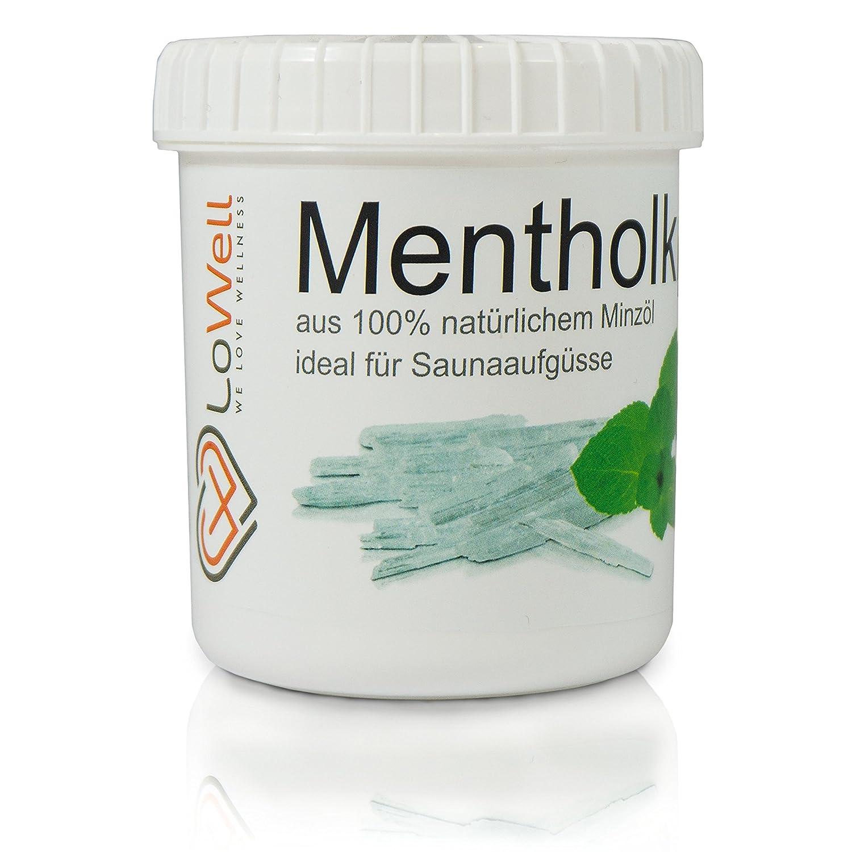 LoWell ❤ 100g - Cristalli di mentolo, cristalli di ghiaccio grandi, mentolo, menta 100% - in una dose pratica - qualità farmaceutica per infusi di sauna