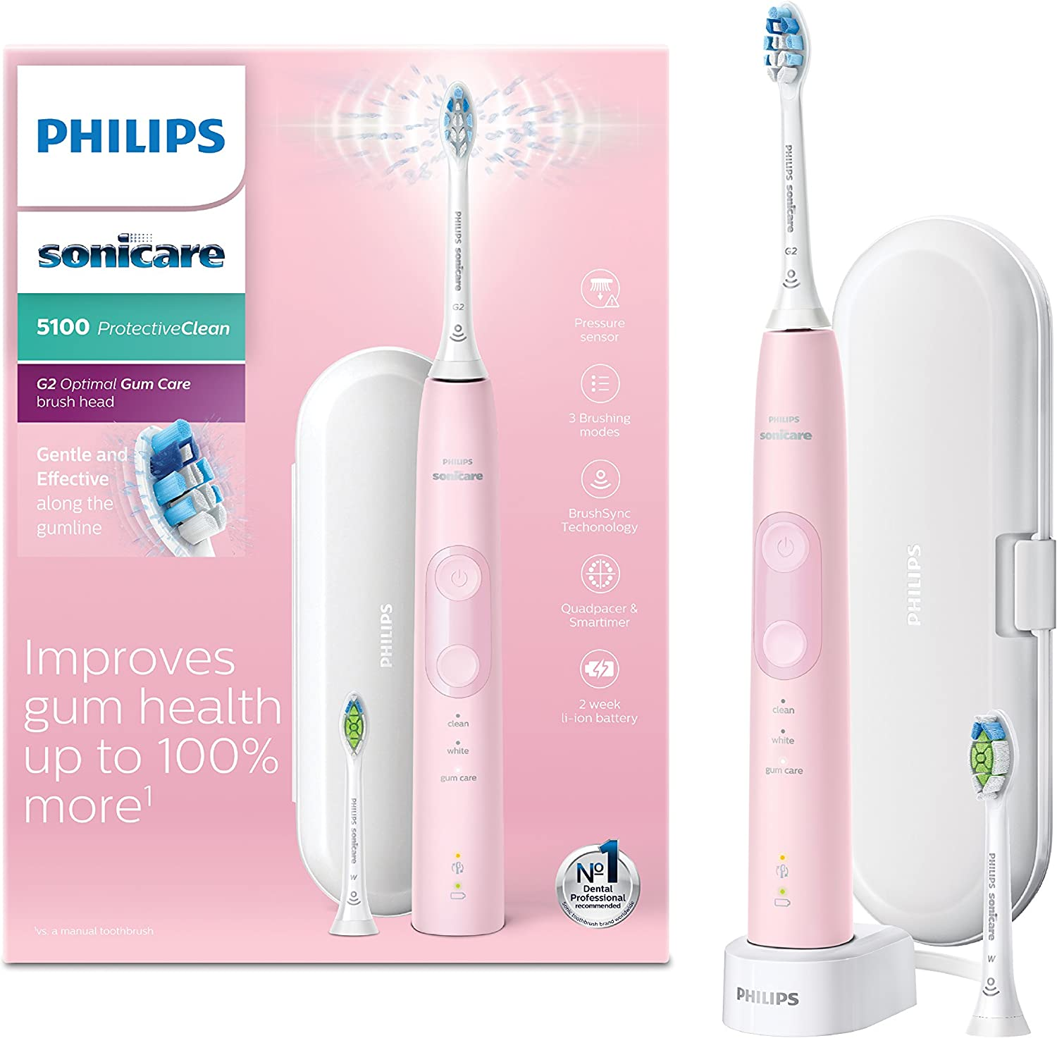 Philips Sonicare ProtectiveClean 5100 Electric Toothbrush with Travel Case, 3 x Cleaning Modes & Additional Toothbrush Head Pastel Pink (UK 2 pin