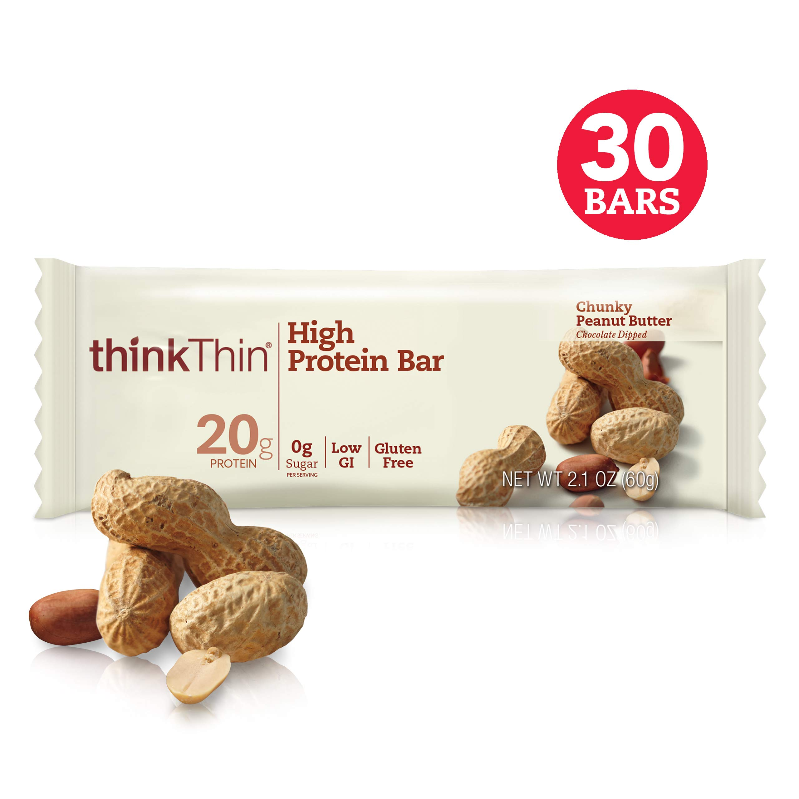 thinkThin High Protein Bars - Chunky Peanut Butter, 20g Protein, 0g Sugar, No Artificial Sweeteners, Gluten Free, GMO Free*, Best Nutritional Snack/Meal bar, 2.1 oz bar (30Count)