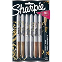 Sharpie Metallic Permanent Markers, Fine Point, Assorted Metallic, 6 Count