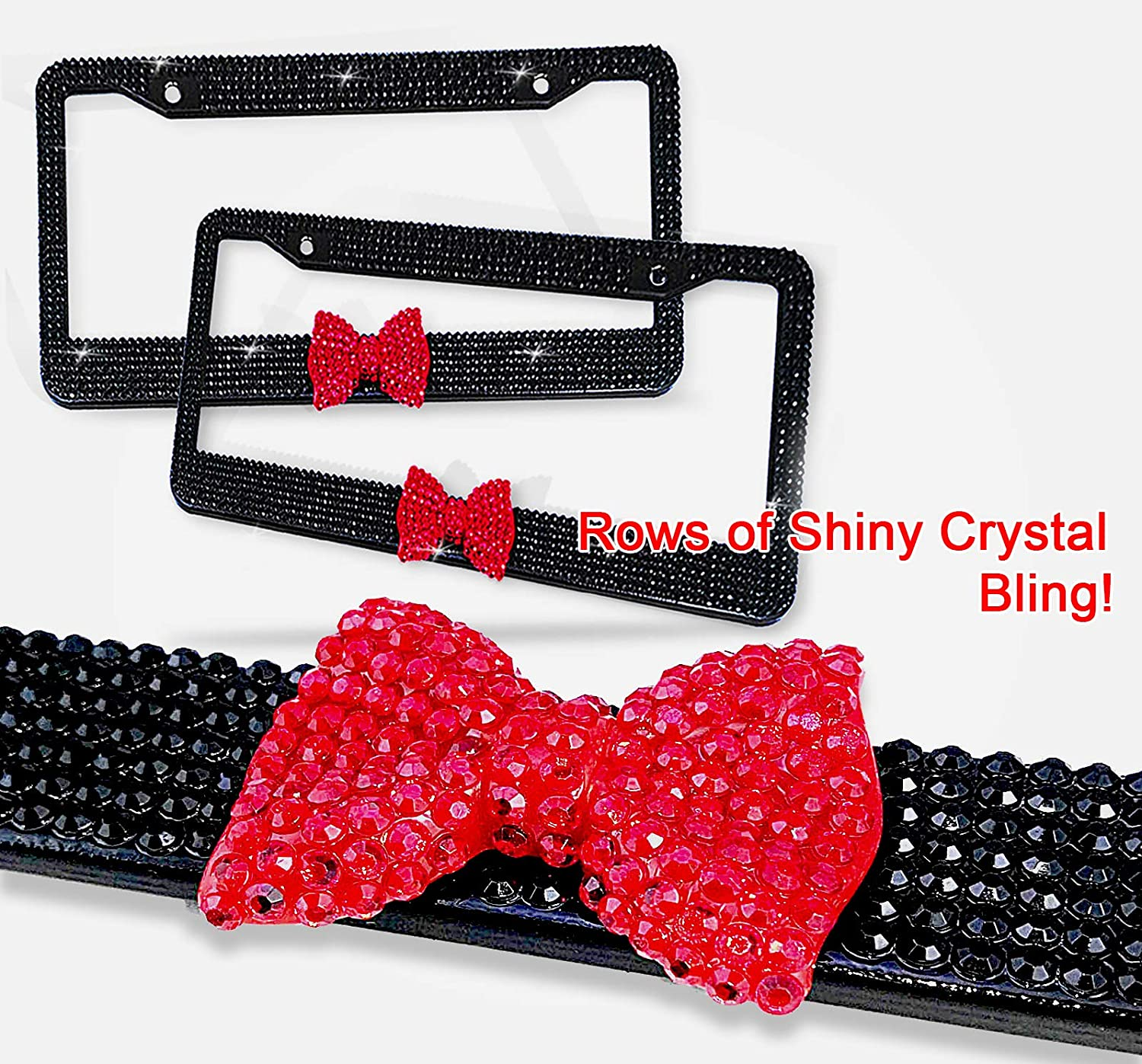 1 Frame Fashion Purely Handmade Gradient Purple Bow Design Bling Crystal License Plate Frame Rhinestone Car//Truck//SUV License Plate Cover Holder for Women,Girl,Lady