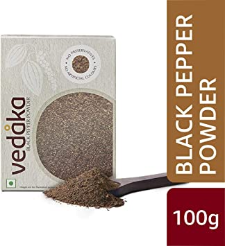 Amazon Brand - Vedaka Black Pepper (Kali Mirch) Powder, 100g
