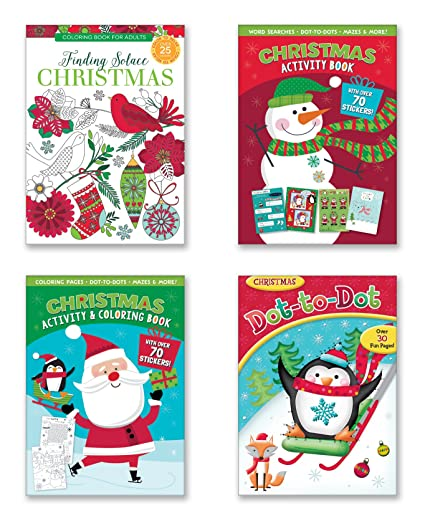 christmas coloring activity book set of 4 xmas activity books filled with fun activities