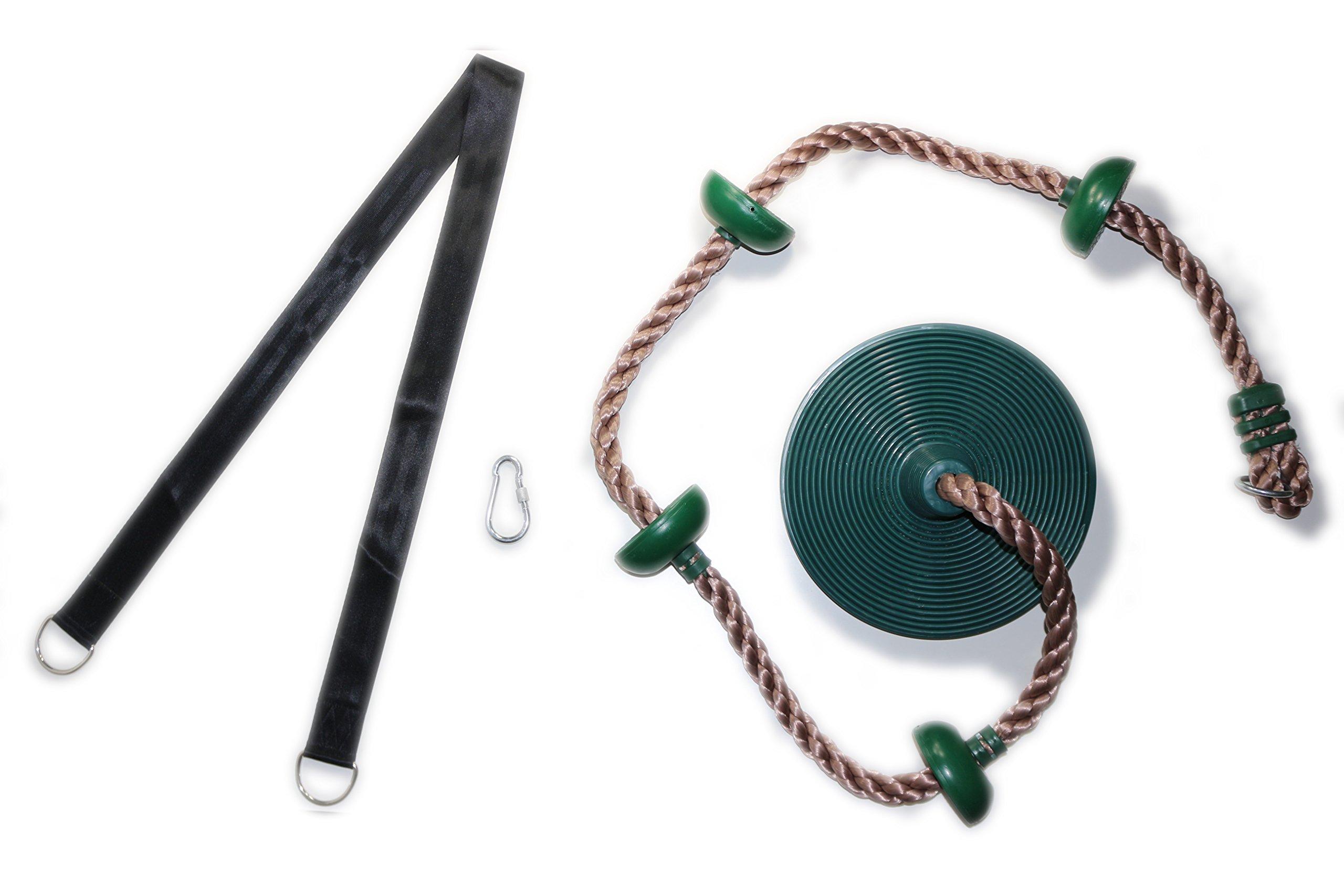LIFYFUN Kids Climbing Rope with Durable Platforms & Round Disc Seat & Hanging Strap & Carabiner   Swing Set Accessories