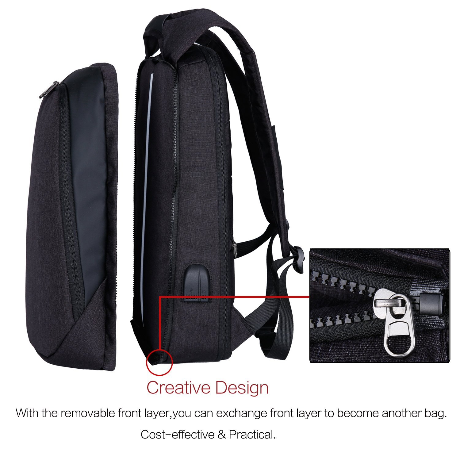 Amazon.com: KEYNEW Anti-thief Convertible Laptop Backpack USB Charging Bag with Removable Front Layer for Men Women 17 Inch (KY806H, Black): Computers & ...