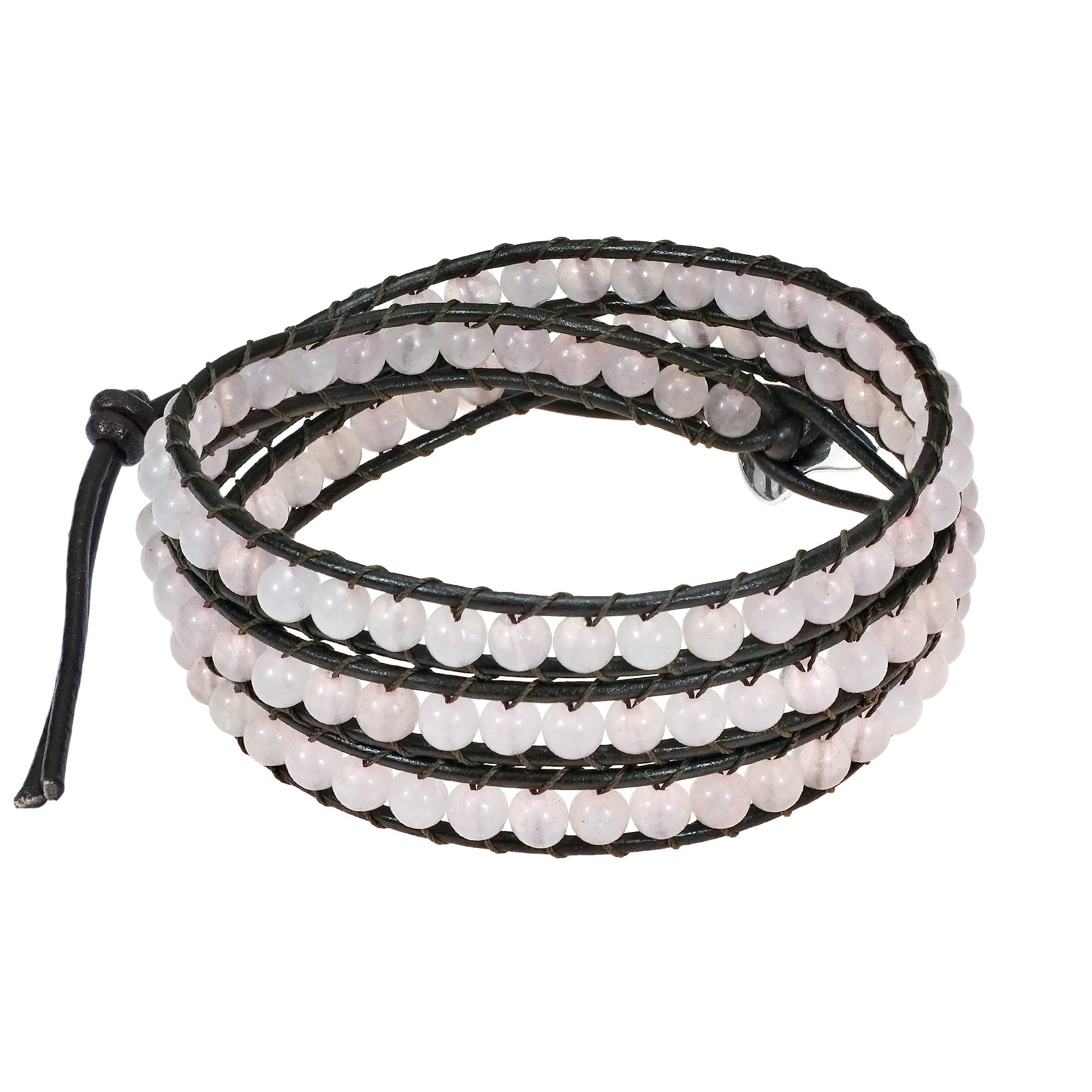 AeraVida Light Rose Muse Pink Glass-Cotton Wax Rope-Leather With Base Metal Clasp Tribal Wrap Bracelet