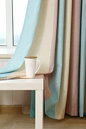 AiFish 2 Panels Classic Striped Semi Blackout Curtains in Blue Beige Brown Room Darkening Extra Wide Colorful Home Decor Grommet Window Drapes and Curtains for Living Room 1 Pair W106 x L108 inch