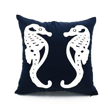 Amazon.com: Caballo de Mar Decorativo Almohada cubierta azul ...
