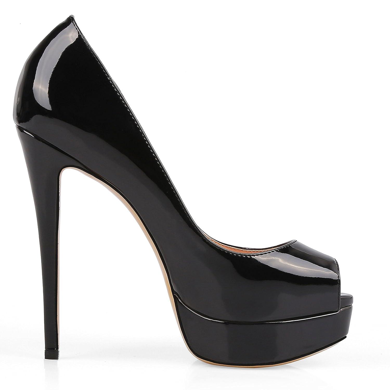 Caitlin Pan Damen Peep Toe Plateau Stiletto Sandalen auf Hochzeit High Heels Slip auf Sandalen Party Kleid Pumpen Größe 34-44 5593b4