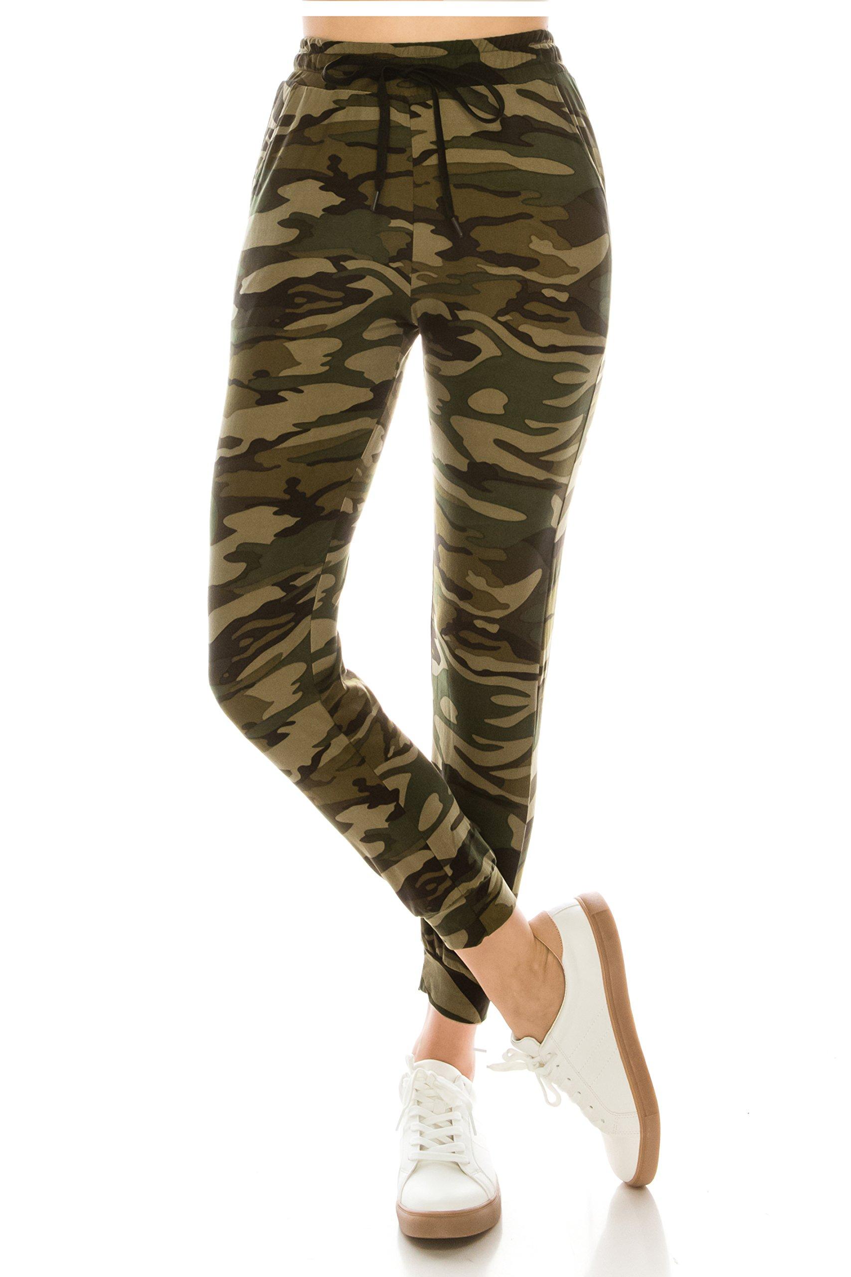 ALWAYS Women Drawstrings Jogger Sweatpants - Skinny Fit Premium Soft Stretch Camo Military Army Pockets Pants S/M by ALWAYS (Image #3)