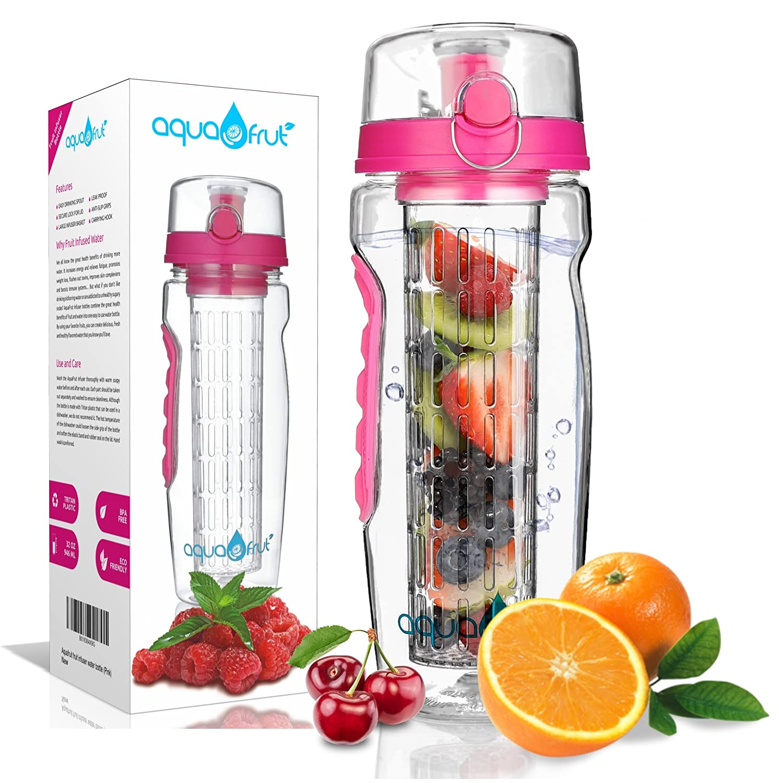 Made of Durable Tritan Leak Proof Free Recipe eBook! Flip Top Lid w Drinking Spout Multiple Colors BPA-Free Fruit Infusion Sports Bottle AquaFrut 32 OZ Fruit Infuser Water Bottle