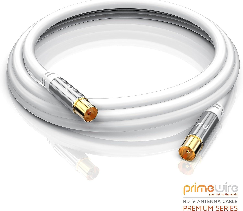 CSL-Computer 2m Cable de Antena HQ HDTV Premium - Factor de blindaje 135 dB - Resistencia 75 ohmios - Cable coaxial - Clavija coaxial Macho a Hembra - ...