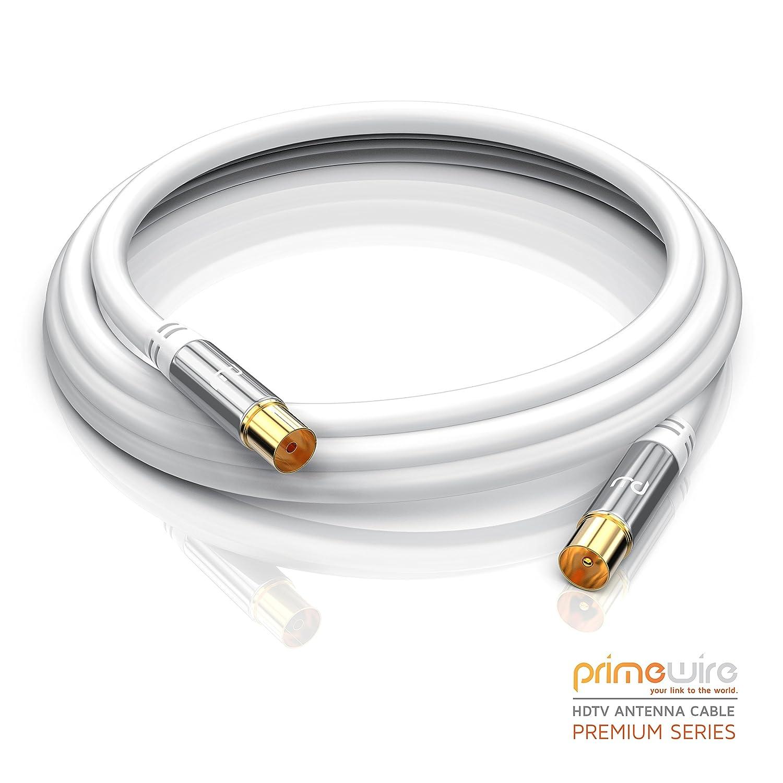 7,5m cable de antena HQ HDTV Premium | factor de blindaje 135 dB | resistencia: 75 ohmios | cable coaxial | clavija coaxial macho a hembra | carcasa ...