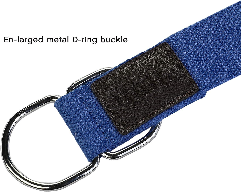 UMI Essentials Correas de Yoga Cintur/ón para Estiramientos Algodon Correa para Ejercicios con Bucle de Almacenamiento Hebilla Metal D-Anillos 240 /× 38 /× cm /× 2mm Ultra Grueso