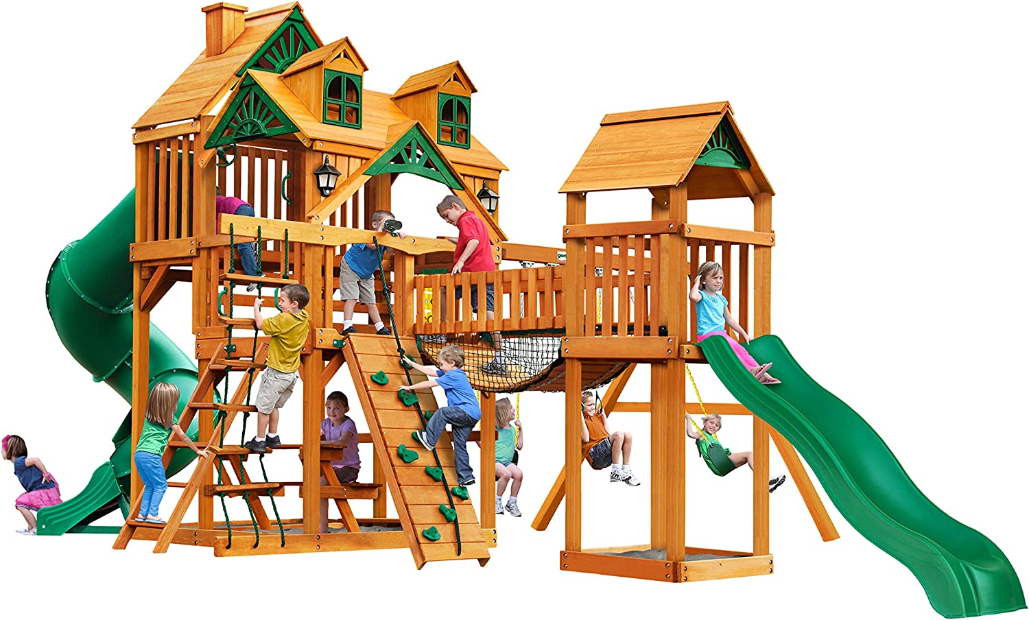 Gorilla Playsets 01-0077-AP Treasure Trove I Wood Swing Set with Malibu Wood Roof, Clatter Bridge & Tower, and Rock Wall