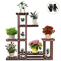 Deals on Vivosun Wood Plant Stand High Low Shelves 6 Wood Shelves 10 Pots