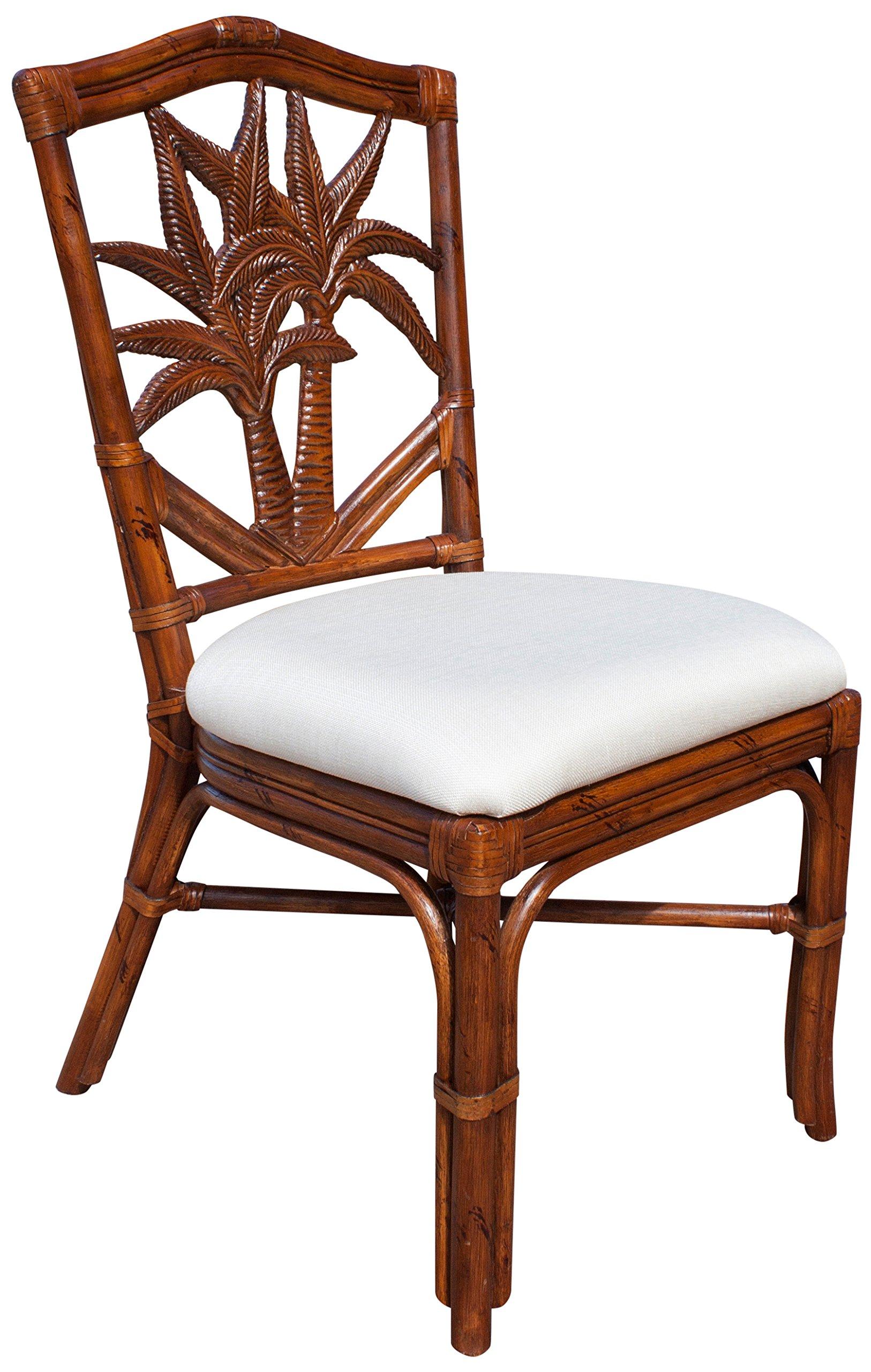 Hospitality Rattan 401-3370-TCA-S Cancun Palm Indoor Rattan & Wicker Side Chair, Sunbrella Canvas Spa