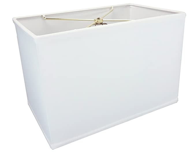 (10x16) x(10x16) x11 Rectangular Drum Lampshade White with Brass Spider fitter By Home Concept - Perfect for table and Floor lamps - Large, White