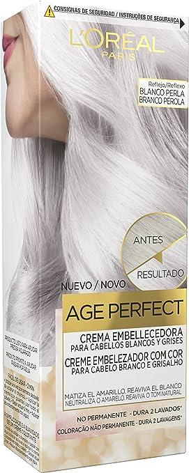 LOreal Paris Age Perfect Crema Embellecedora con Color, Tono Blanco Perla - 3 Paquetes de 80 gr - Total: 240 gr
