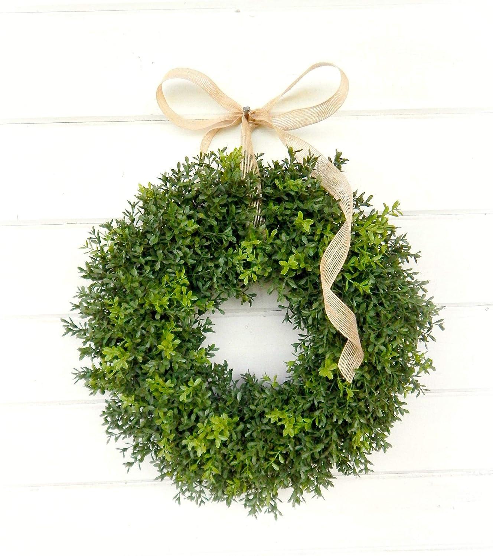 Christmas Wreath-Winter Wreath-BOXWOOD Wreath-Farmhouse Decor-Winter Door Wreath-Holiday Wreath-Outdoor Wreath-Year Round Wreath-Gifts