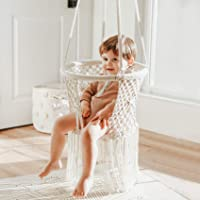 FUNNY SUPPLY Indoor Hanging Swing Seat,White Weave Infant Hanging Chair, Hammock Chair for Infant to Toddler,Children's…