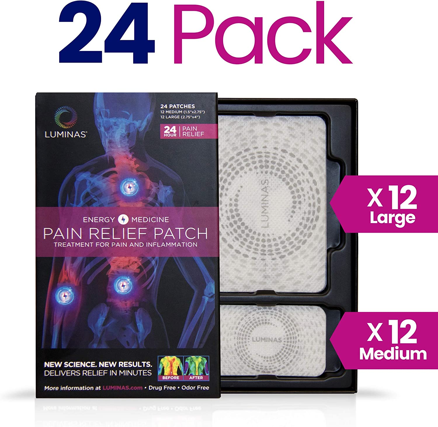 Amazon.com: LUMINAS Pain Relief Patches, Fast Acting and Long Lasting, 24  Pack: Health & Personal Care