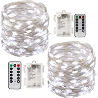 LED Fairy String Lights with Remote Control - 2 Set 100 LED 33ft/10m Micro Silver Wire Indoor Battery Operated Firefly…