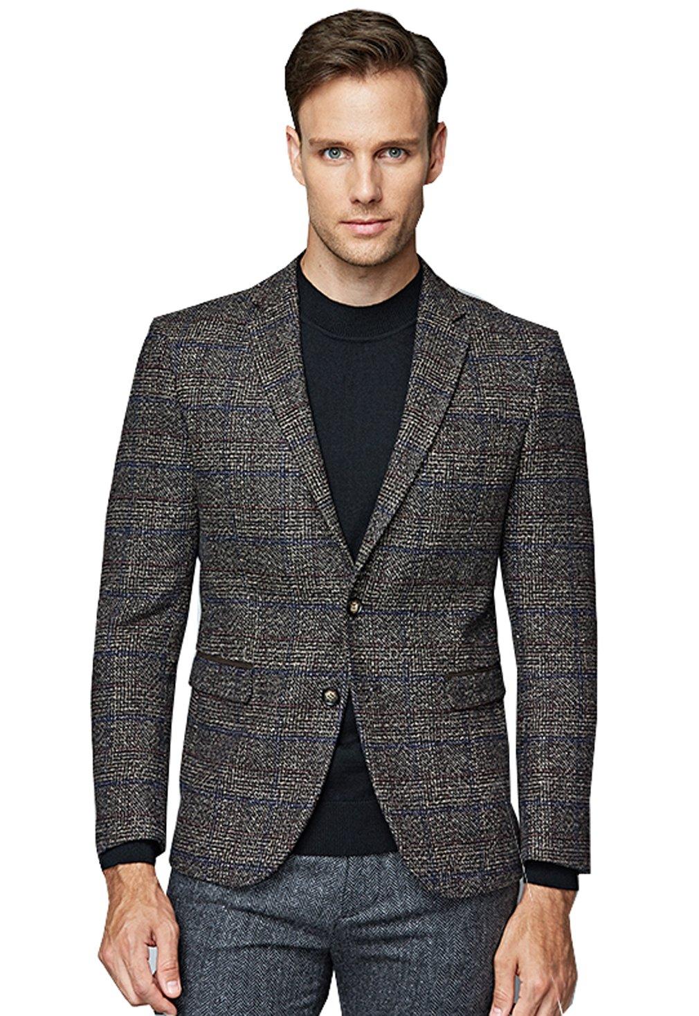 UNbox Mens Dress Casual Business Suit Two Button Slim Fit Suit Khaki XL by UNbox (Image #1)