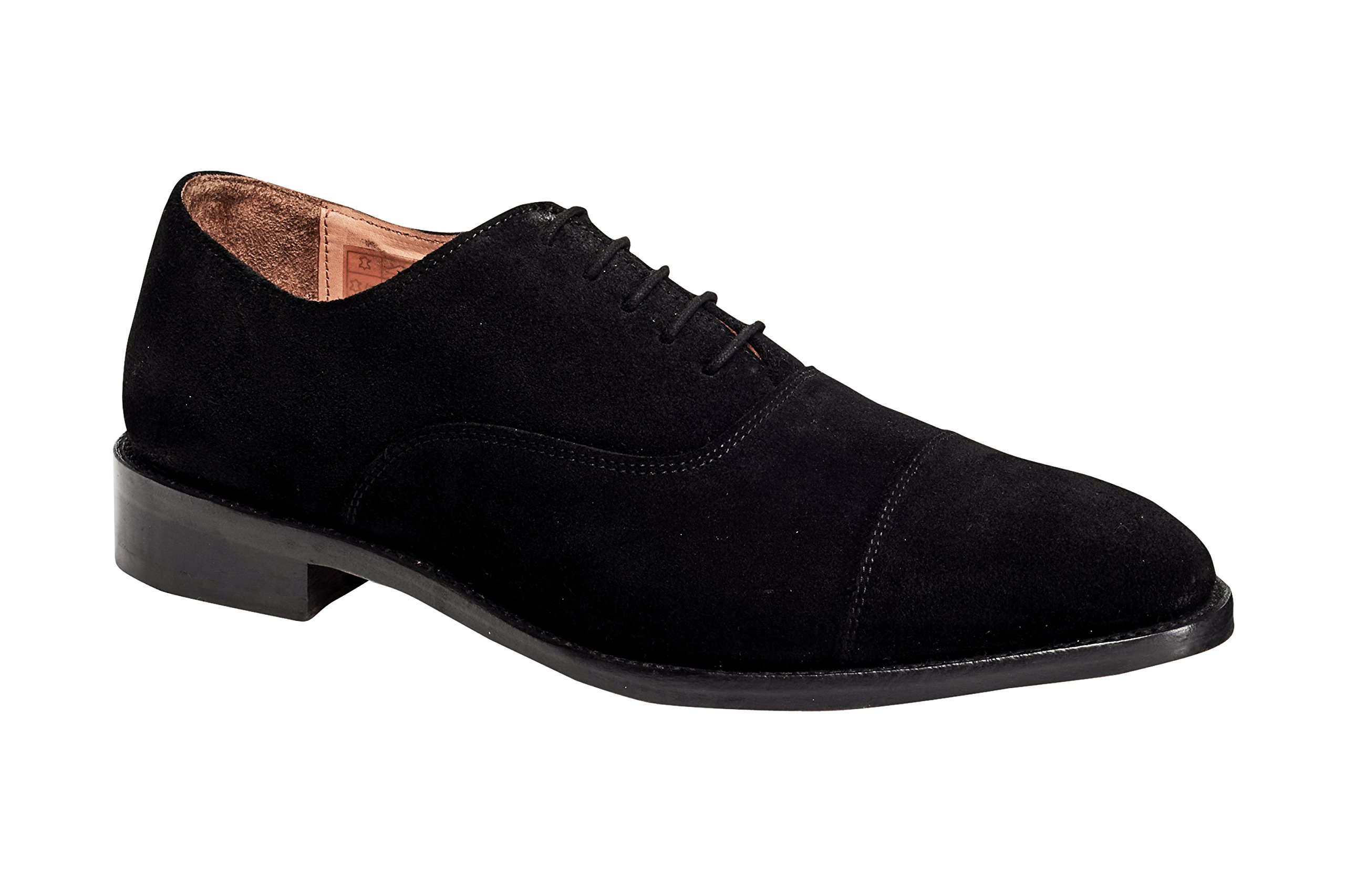 Anthony Veer Mens Clinton Cap-toe Oxford Leather Shoe in Goodyear Welted Construction (9.5 D, Black - Suede) by Anthony Veer
