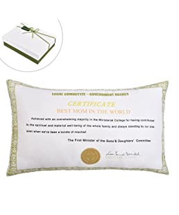 for Mum - Decorative Pillowcase Best Mom in The World Certificate - Breathable Fabric Bed Linings Cushion Cover Home Office Decorative for Mother's Day Birthday Anniversary