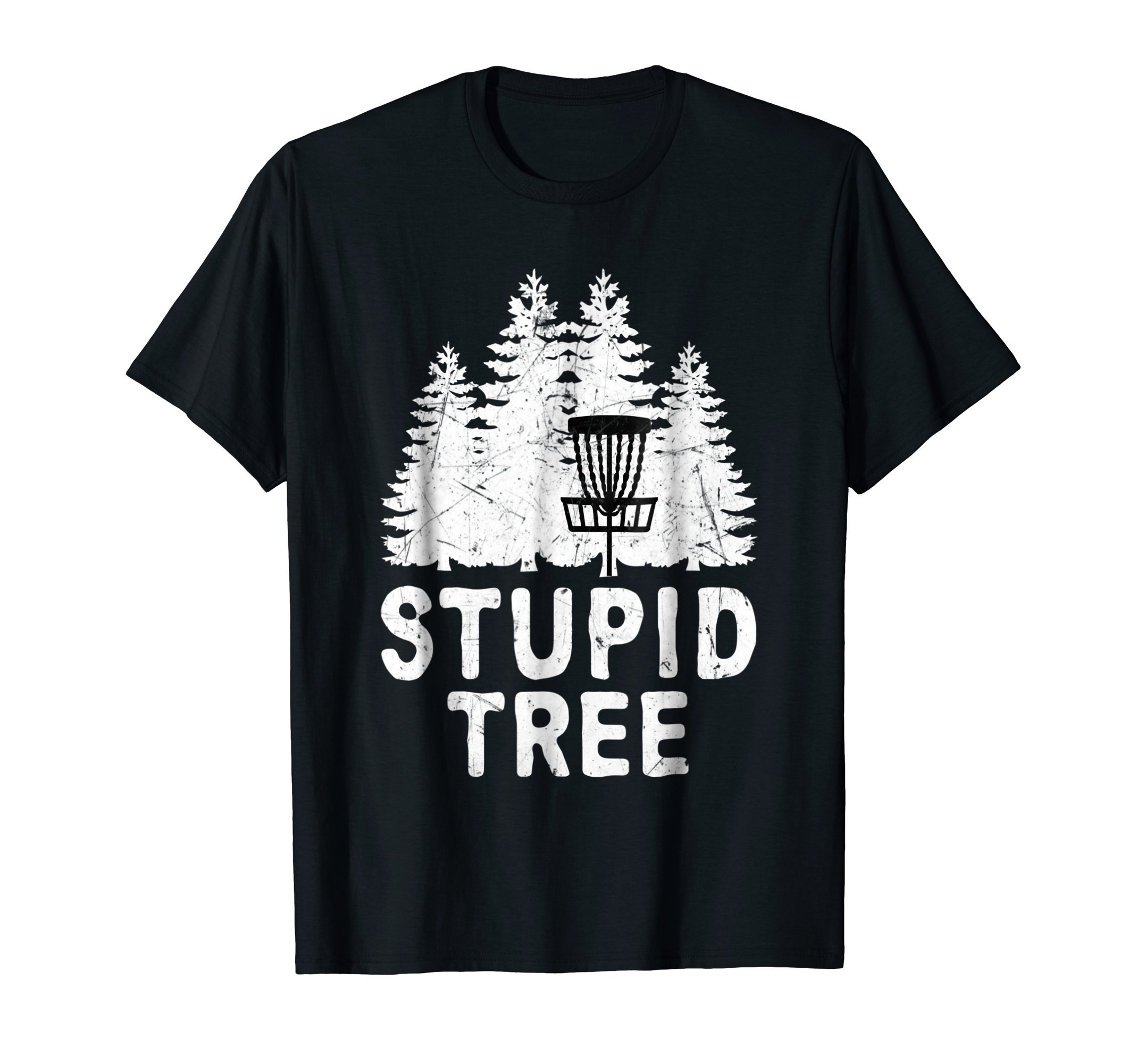 Funny Disc Golf Stupid Tree Distressed Frisbee Golf T Shirt