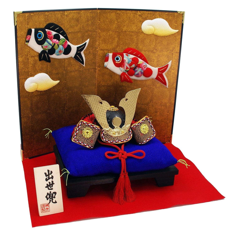 ちりめん 兜飾り 小箔昇り鯉屏風付き出世兜 ちりめんミニちまき特典付オリジナル五月人形 鯉のぼり こいのぼり ミニ 五月人形 兜 幅36cm リュウコドウ B01MSDY6NJ