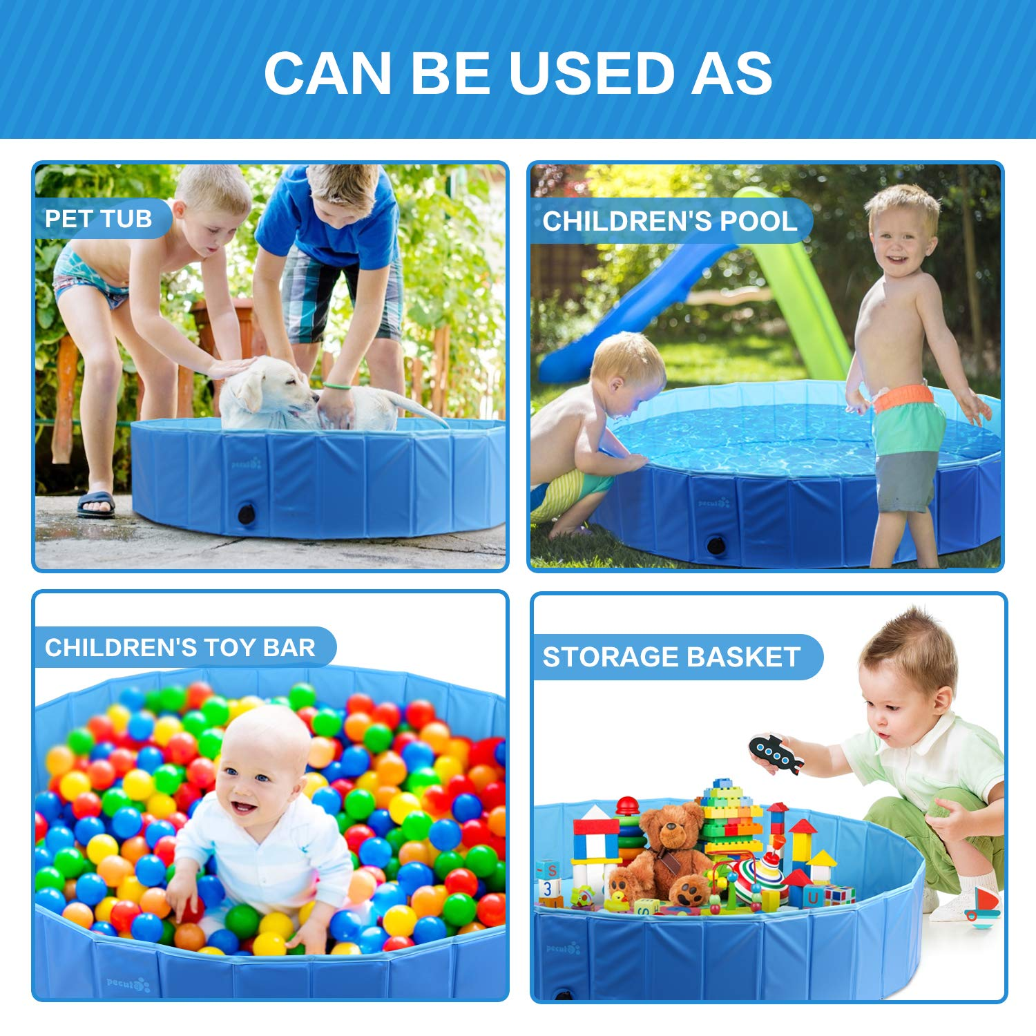 Pecute Dog Pool PVC Outdoor Pool Bathing Tub Portable Pet Playing Pool for Dogs Cats and Kids -3 XS (23.6\