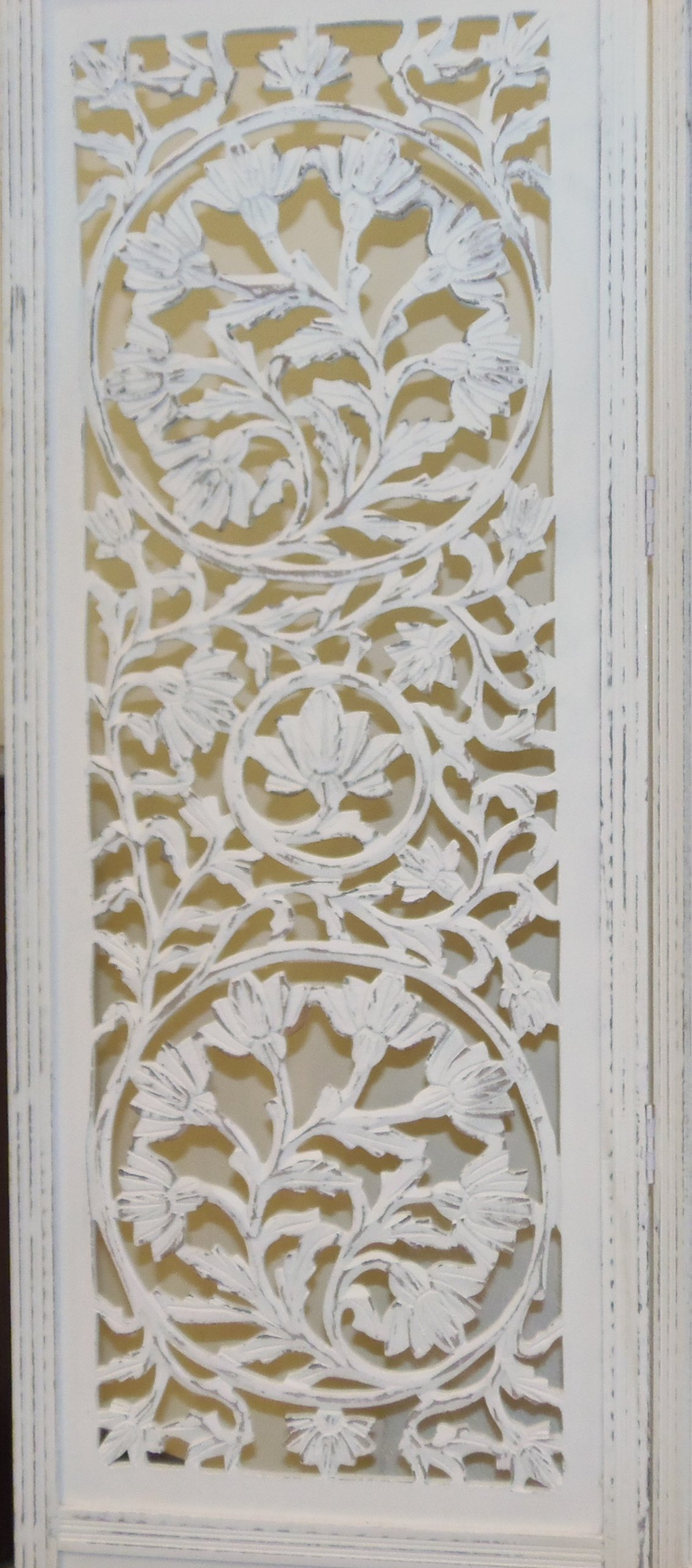 Kamal The Lotus Antique White 4 Panel Handcrafted Wood Room Divider Screen 72x80, Intricately carved on both sides making it fully reversible, highly versatile. Hides clutter, adds dÃcor by Cotton Craft (Image #3)