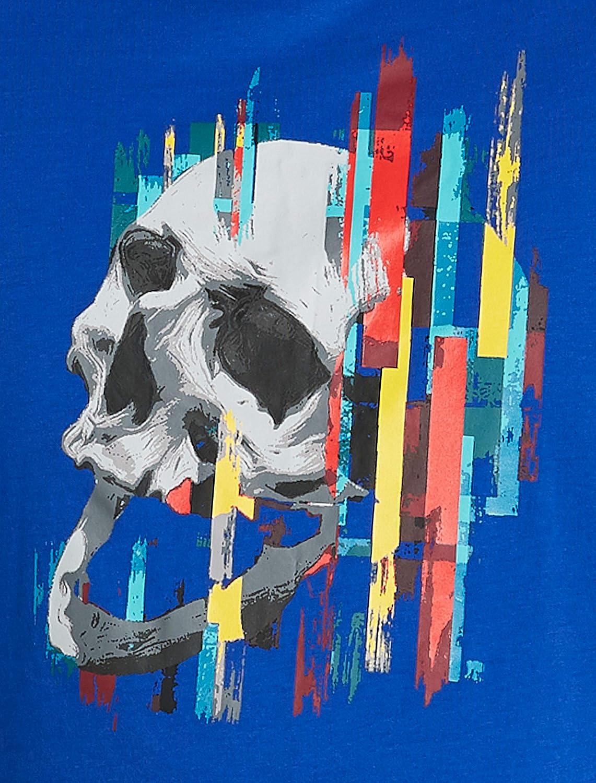 Blue Robert Graham DXL Skull Stripe Graphic Tee