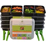 Meal Prep Concepts 3 Compartment Food Storage Containers with Lids, Microwaveable Dishwasher Safe Reusable Stackable Bento Box Style that is BPA Free, 36-Ounce set of 10 with Bonus Cutlery.