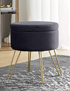 Ornavo Home Modern Round Velvet Storage Ottoman Foot Rest Stool/Seat with Gold Metal Legs & Tray Top Coffee Table - Grey
