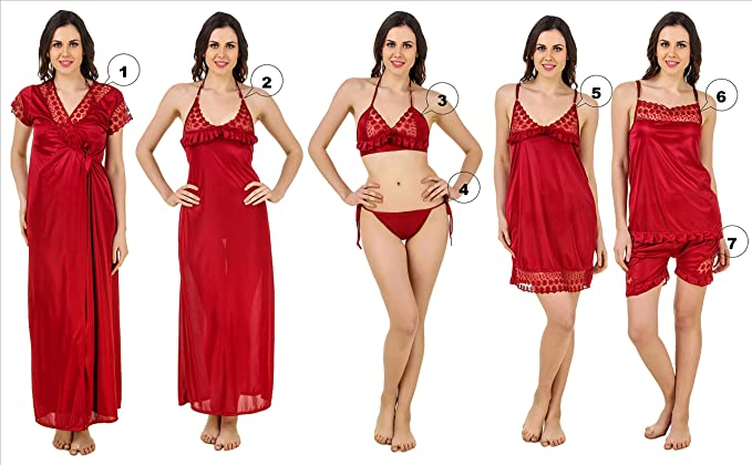 824cae6da04 Image Unavailable. Image not available for. Colour  KEOTI Women s Honeymoon  Satin Nighty Set ...