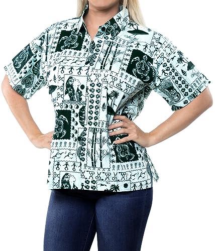 camisa de vestir ropa de playa botón hawaiano mangas cortas hacia abajo para cubrir la piel de las m...