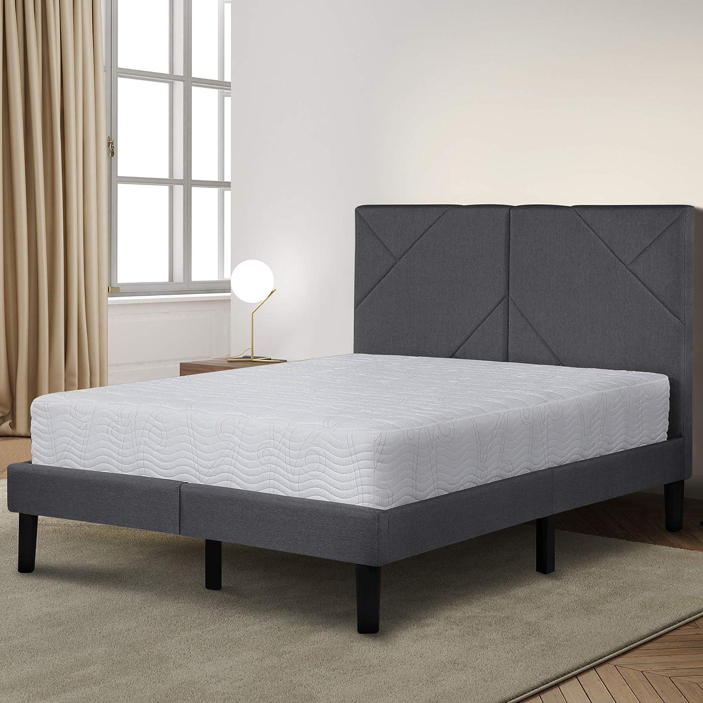 Olee Sleep Dura Metal Upholstered Premium Platform Bed Frame, Gray