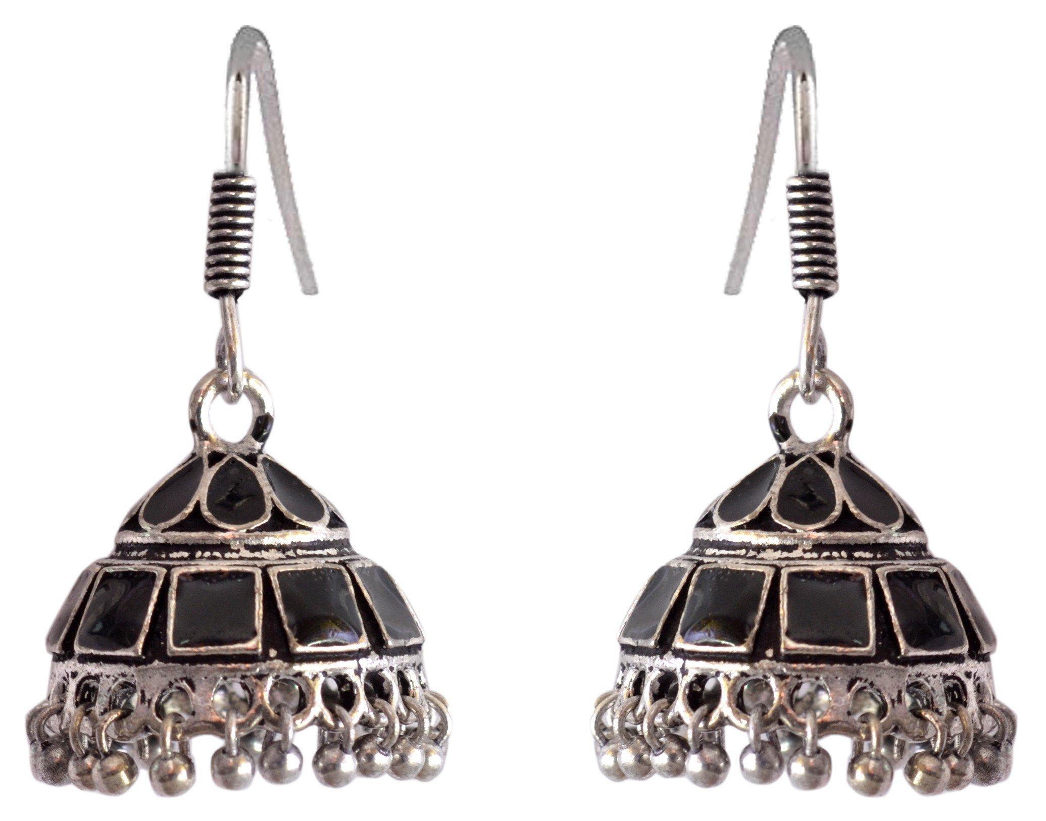 Sansar India Enamel Lightweight Jhumka Indian Earrings Jewelry for Girls and Women 1385