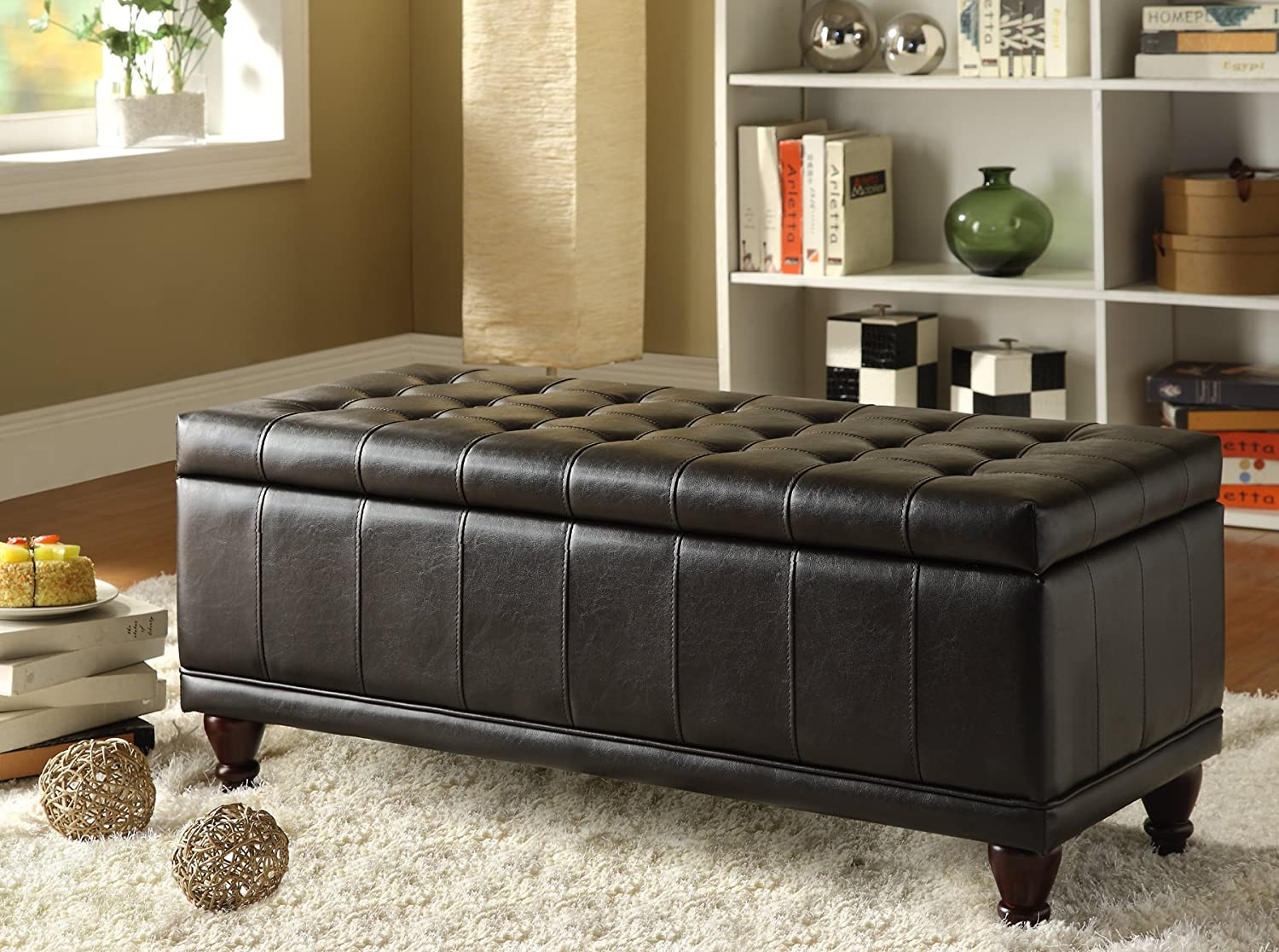Amazon.com Homelegance 4730PU Lift Top Storage Bench with Tufted Accents Dark Brown Faux Leather Kitchen u0026 Dining & Amazon.com: Homelegance 4730PU Lift Top Storage Bench with Tufted ...