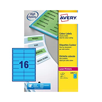 Amazon.com: Avery L6067-25 - Etiquetas A4, 16 etiquetas por ...