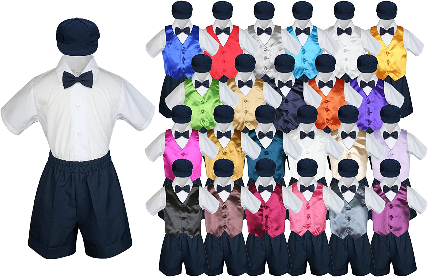 LEADERTUX 4pc Baby Toddler Kid Boy Wedding Suit Navy Pants Shirt Bow tie Hat Set Sm-4T